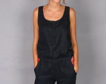 Linen black jumpsuit Baggara, black playsuit, black rompers, black overall, boho jumpsuit, women jumpsuits, ethical fashion, ethnic, Baggara
