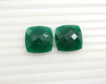 Green onyx  faceted Gemstone 20x20  mm cushion 3 pieces lot code no. 10