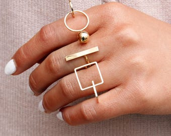 Geometric rings 3 pcs  FREE SHIPPING