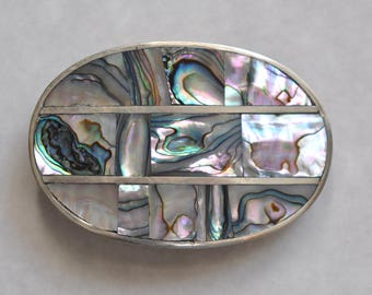 Vintage Mother of Pearl and Alpaca Belt Buckle made in Mexico