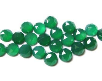 10 pieces 4mm Green Onyx RoseCut Round Gemstone, Green Onyx Round RoseCut cabochon Gemstone, Green Onyx Cabochon RoseCut Faceted Round