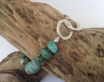 Sterling silver hammered circle links and African Turquoise beaded chunky bracelet