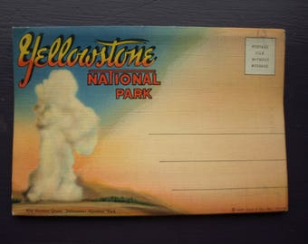 Yellowstone National Park Fold Out Post Cards - Vintage