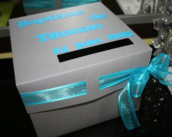 Urn wedding birthday baptism gray Turquoise