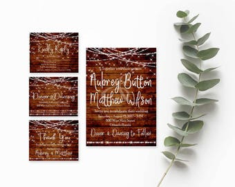 Rustic Wedding Invitation Printable- Rustic Invitation- Wedding Invitation Suite- Mason Jar Wedding Invitations- DIY Invitation Suite-