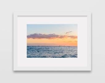 Waikiki Beach at Sunset, Honolulu Hawaii Photographic Print