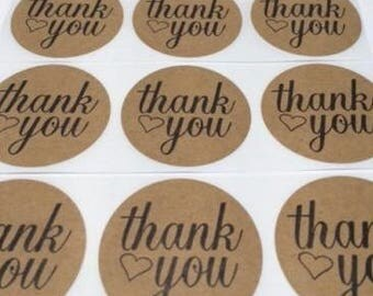 """100 Thank You Heart Stickers Natural Kraft 2"""" Peel & Stick Stickers"""