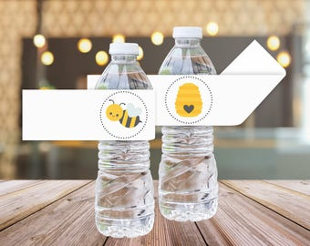 Bee Baby Shower Printable Water Bottle Labels || Printable Bee Gender Reveal Decorations || Gender Reveal Party Ideas (DIGITAL PRODUCT)