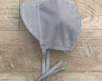 Baby bonnet/ cotton sunbonnet/baby boy hat/ sun bonnet / gender neutral  hat/summer baby bonnet with brim/summer baby hat/ brimmed bonnet