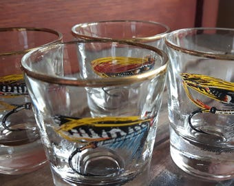 Vintage Fly Fishing Shot Dominion Glass 4 Glasses / shot showing 4 different fly fishing lures