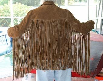 Suede-Fringe Jacket - Pioneer Wear - Size 40 - 1968