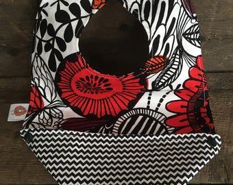 Scalable reversible baby bib bandana bavana bib red orange black chevron flower child