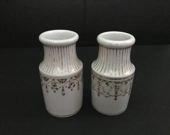 Maille Boutique Paris Vintage Pots Mustard/Condiment White Ceramic Embelished with Gold