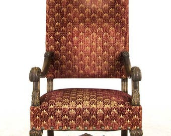 Victorian Fauteuil | Louis 14th Style Carved Oak | England, 1920 | B546
