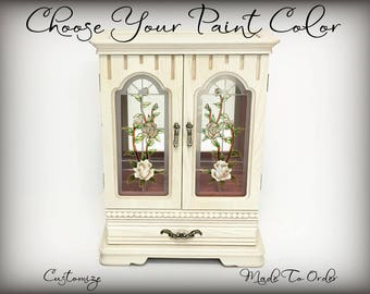 Custom Jewelry Box, Tall Jewelry Armoire, Hand Painted, Anniversary Gift For Wife, Girlfriend, Monogrammed, Personalized Gift, Pick Colors
