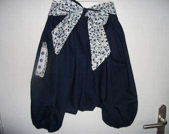 Sarouel woman navy and flowery belt liberty style