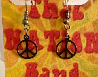 That NATION Band Antiqued Brass Peace Sign Earrings