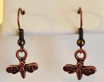 Bumble Bee Copper Plated Pewter Earrings