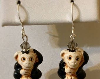 Cute Ceramic Monkey Earrings with Glass Beads