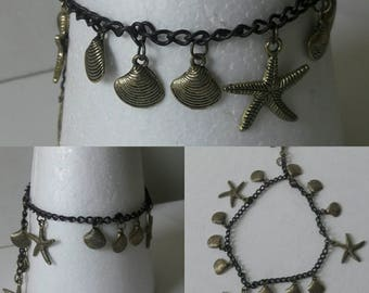 Boho Seastars shells anklet Copper color charms ankle jewelry