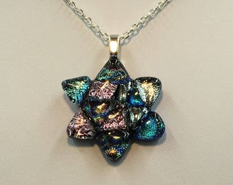 Fused dichroic glass, Star of David Pendant with Black Silicone Cord or Sterling Silver Chain