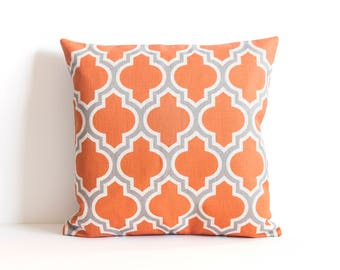 Orange Throw Pillow, Orange Pillow Cover, Pattern Pillow Covers, Accent Throw Pillow, Decorative Pillow Cover, Cushion Cover