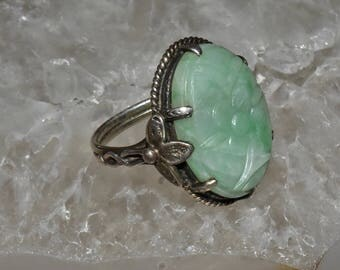 Vintage Chinese Carved Green Jade Sterling Silver Ring Sz 4