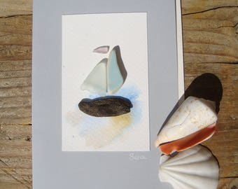 Seaglass cards-Genuine seaglass-Seaglass art-Hand made greeting cards-postcard with sailing boat-OOAK-blanc Card inside