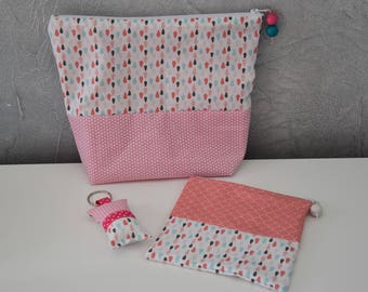 Set of 2 kits * special diaper bag * + key ring - multicolor shades - baby girl