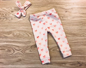Heart Legging and Headband Set- baby girl, Valentine's Day pants, knot headband, pink, coral, cream, leggings, coming home outfit