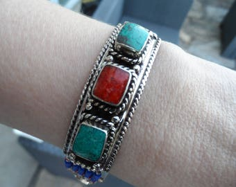 Bracelet ethnic turquoise / coral
