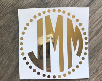4 inch Gold Foil Monogram Decal Sticker / Gold Sticker / Yeti Monogram / Gold Mirror Decal Sticker / Laptop and Car Decal