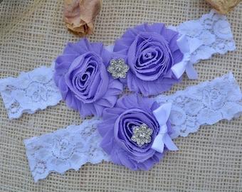 Flower Garter, Lavender Bridal Set, Crystal  Rhinestones, Garter Bridal, Lavender Garter Set, Wedding, Bridal Garter Set, Flower Garter Set