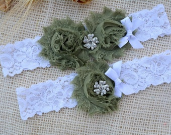 Army Wedding Garter, Camo Garter Set, Military Bride Garters, Toss, Military Wedding Gift, Bachelorette Gift, Olive Garter Set, Army Garters