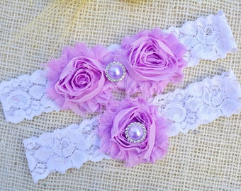 Wedding Garter Lilac, White Garter Set, Purple Garters, Bridal Clothing, Lilac Toss Garter, Brides Garters, Purple Garter, Purple Garter Set