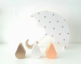 Freestanding umbrella and raindrops, nursery decor, girls room, coral, white, gold, polka dot, wooden decor, shelfie, pastel colours,