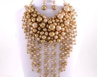 Couture Pearl Brown Necklace Set