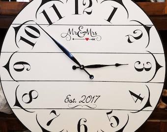 22 Inch Shiplap look Wedding Clock