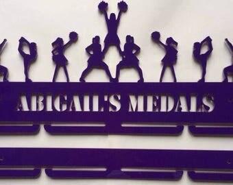 Personalised cheerleader acrylic medal rack