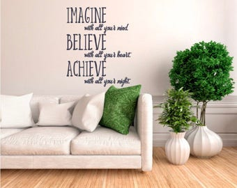Inspirational quote for wall - wall stickers - choice of colours - wall art quote -wall decals - vinyl sticker - quotes - home or office