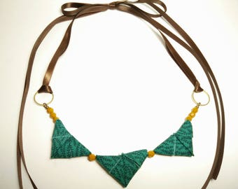 Petite ORIGAMI TRIANGLE NECKLACE - Green with Rosemary Plant and Mustard Yellow Print Ribbon Tie Necklace