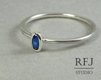 Oval September Birthstone Synthetic Sapphire Silver Ring,  Stackable Delicate Sterling Silver Sapphire Ring, Oval Cut Blue Sapphire Ring