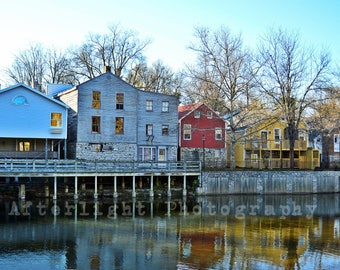 Vibrant colored homes along waterfront