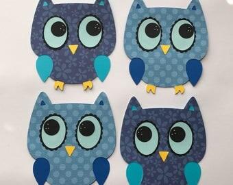 Owls die cut, Owl cutout, card making, invitations, favor, scrapbooking, owl centerpiece, mini album, set of 4.