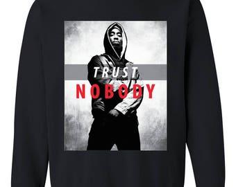 Tupac Trust Nobody OFTB Matching Couples Music Fan Birthday Gift Match w Hats Bags Unisex Crewneck Sweatshirt