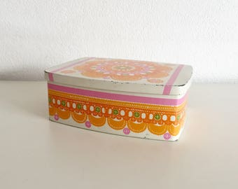 Vintage Tin Ira Container 1960's 1970's Denmark Ethel van Horn orange pink flower design cookies bin tin