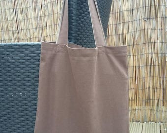 Brown / Beige Cotton Canvas Tote Bag