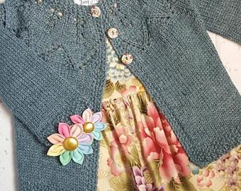Little Cardigan - Size 0 - Hand Knit - Bamboo/Merino
