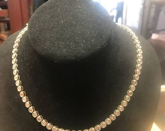 Sterling silver and cubic zirconia flexible necklace