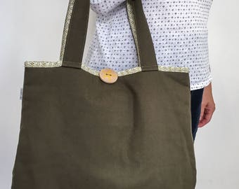 Tote bag Olive Green Off-White Graphic pattern shoulder bag with handprinted wooden button sea star